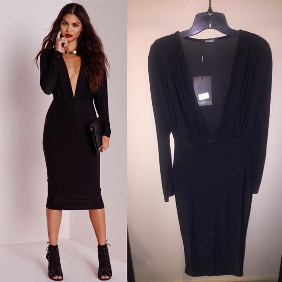 3dc4dd01fe41 Missguided Dresses | Black Sheer Deep Vneck Midi Dress | Poshmark